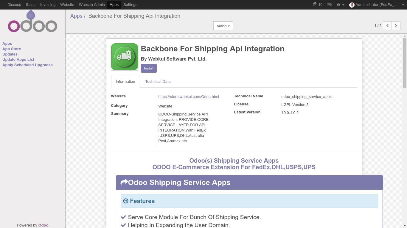 Odoo-Shipping-Api-FedEx-USPS-UPS-DHL-Integration|Install-Odoo-Shipping-Core-Module