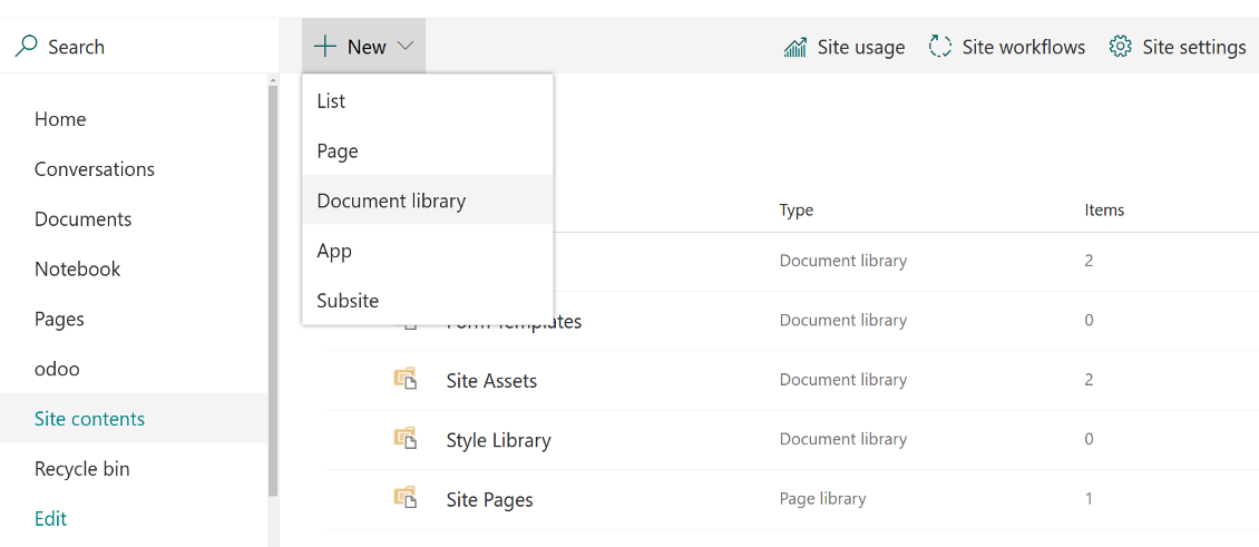 Sharepoint library for Odoo