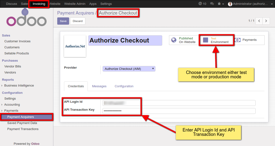 Enter API Login ID and Transaction Key in Odoo