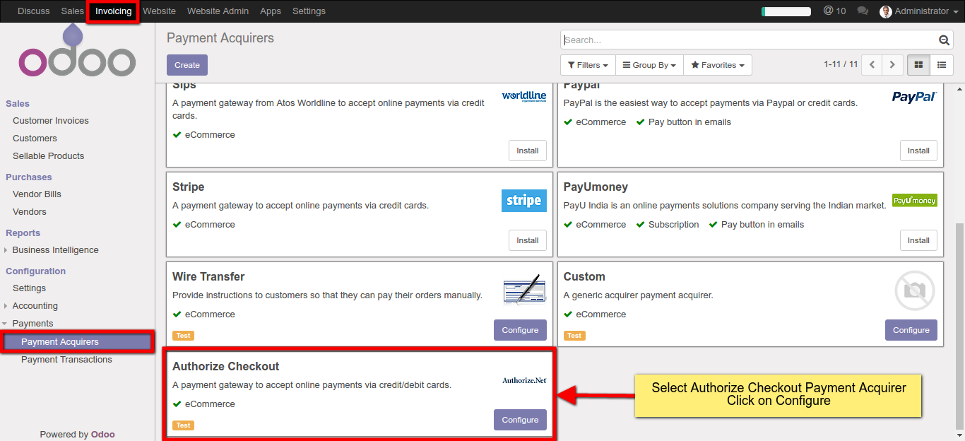 Select Authorize Payment Acquirer