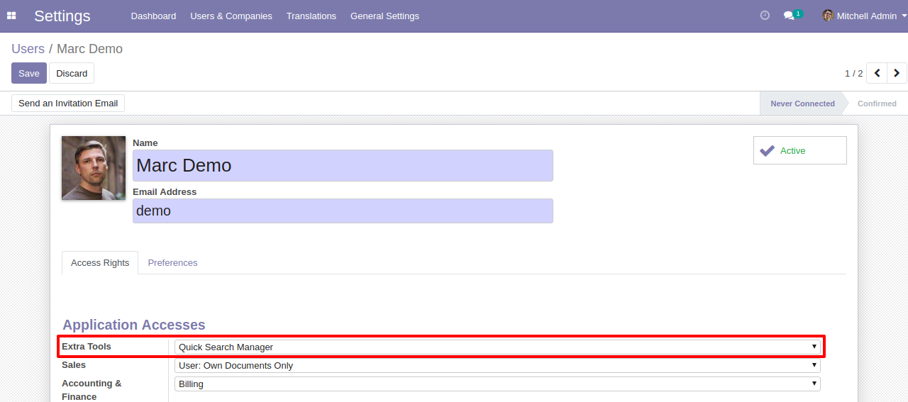 Advance Search & Quick Search Odoo 1