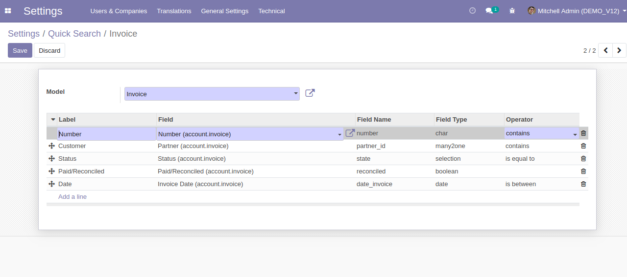 Advance Search & Quick Search Odoo 2