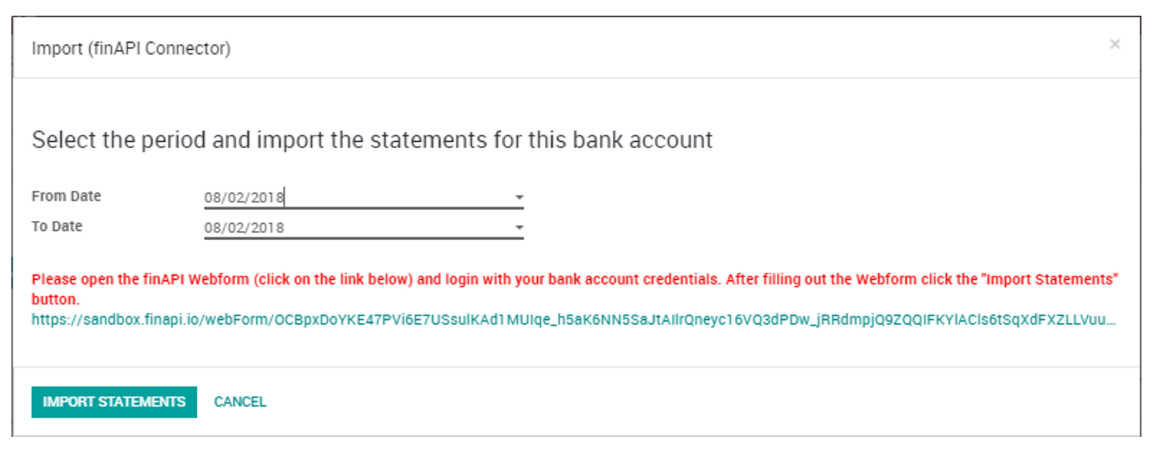 Import new Bank Statements with the finAPI Connector