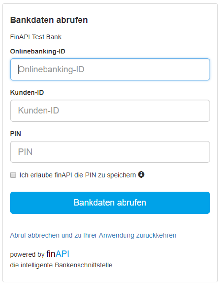 finAPI PSD2 Web Form with bank access information