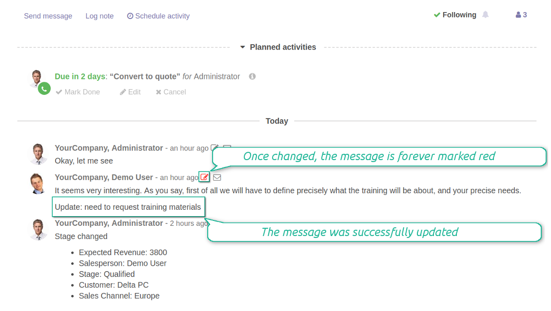 Messages' and notes' changes are distinguishable