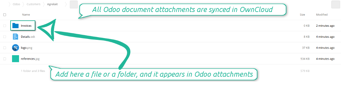 Odoo attachments as OwnCloud / NextCloud files