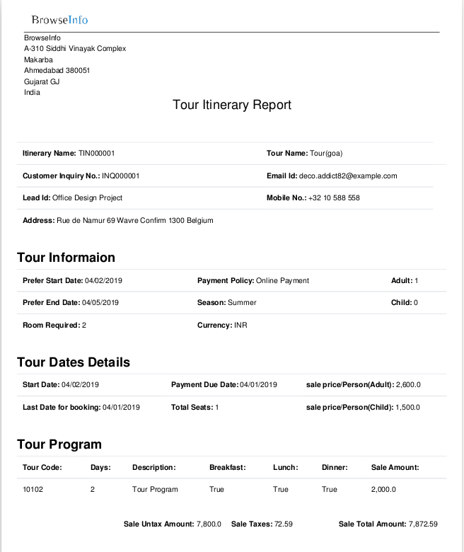 Tour itinerary report