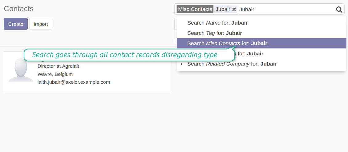Search by misc contact data