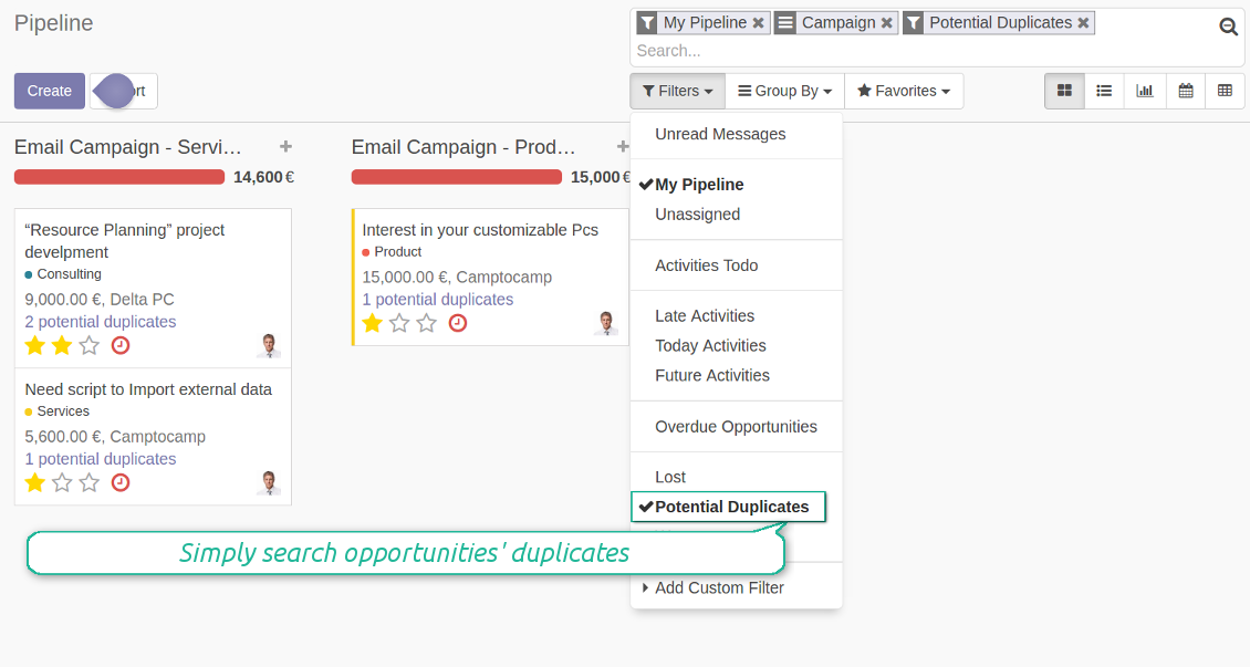 Odoo opportunities' duplicates filter