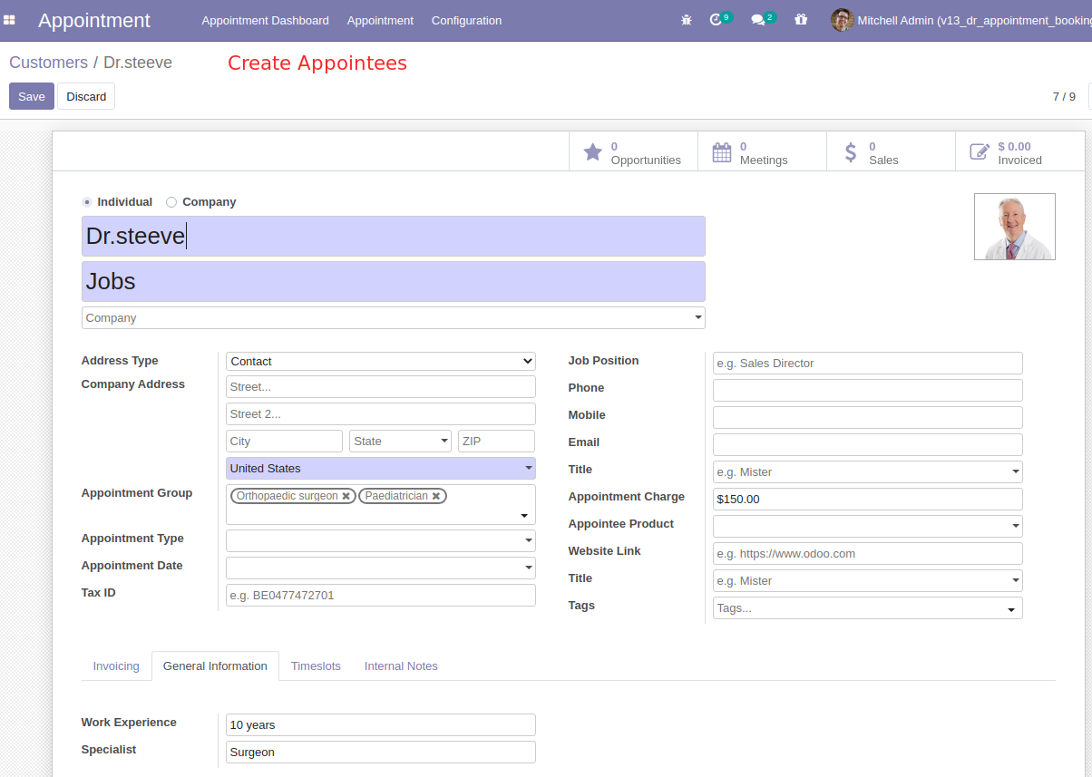 Create Appointment booking system