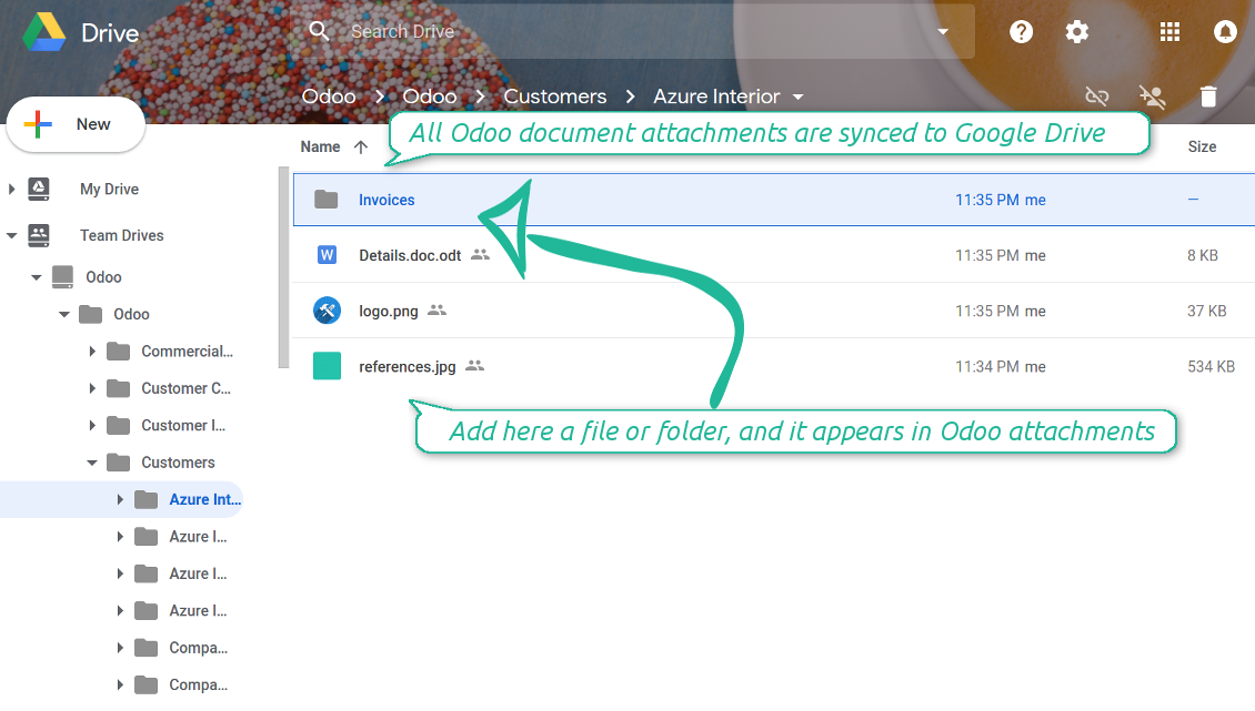 Odoo attachments as Google Drive files