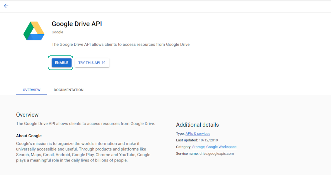 Google Drive API turn on