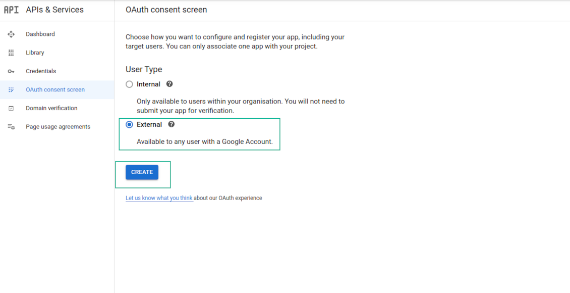OAuth Google configuration