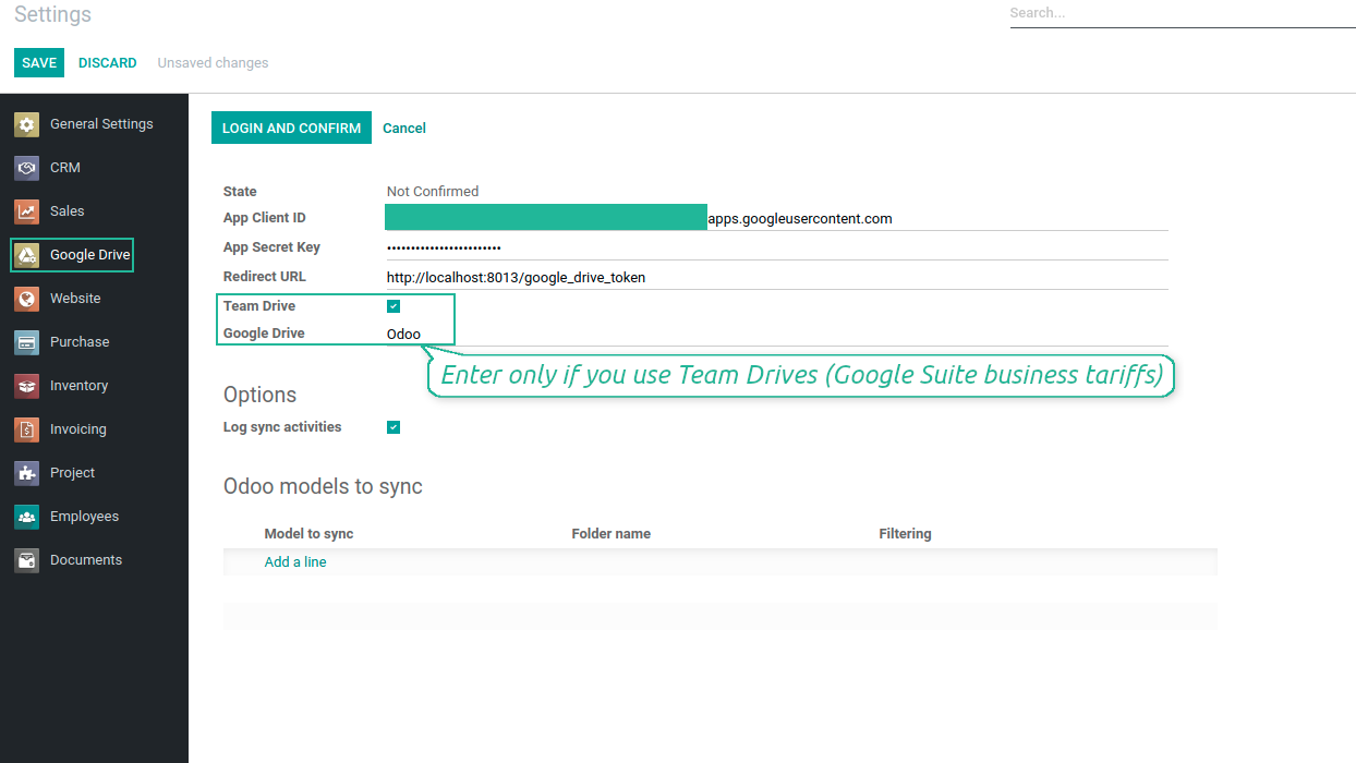 Configure Odoo for Google Drive