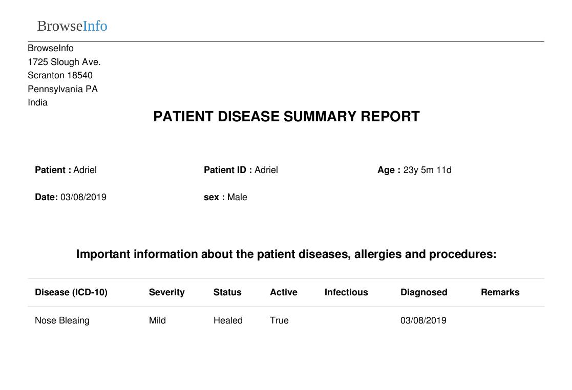 Patient disease summary report