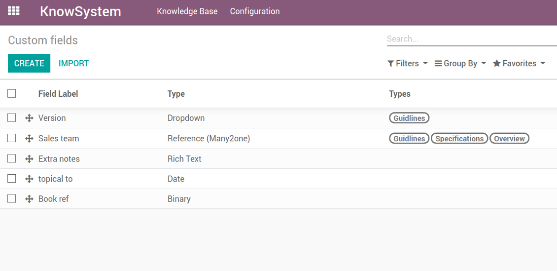 Customize properties of knowledge base
