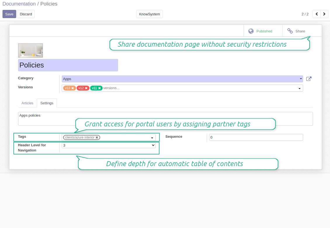 Manage Odoo documentations
