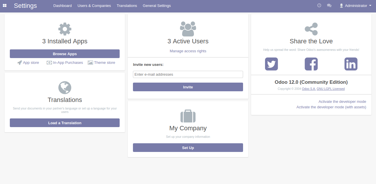 Odoo web dashboard