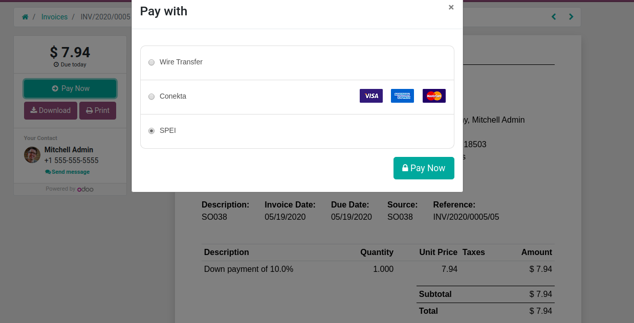 Payment On Odoo PORTAL invoices