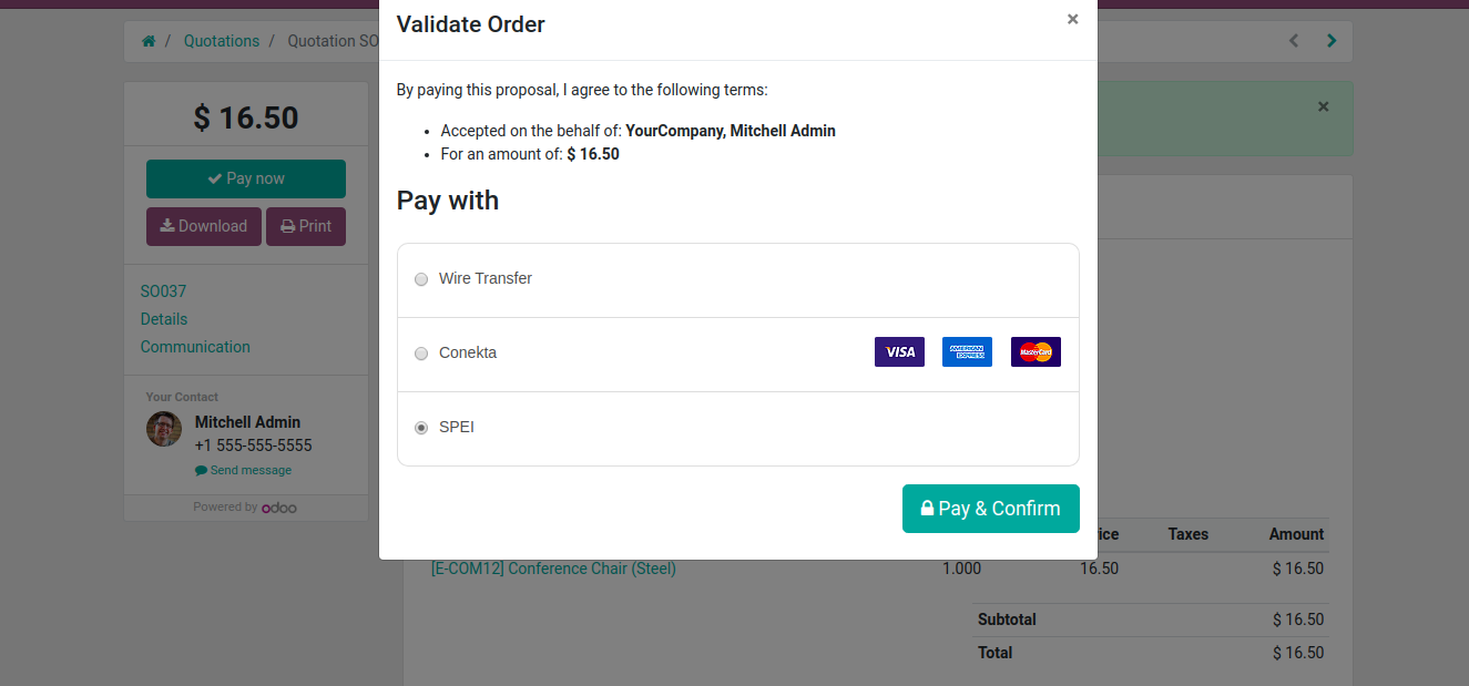 Payment On odoo PORTAL quotations
