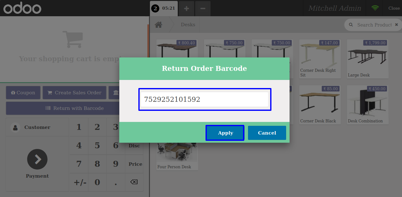 Return with barcode