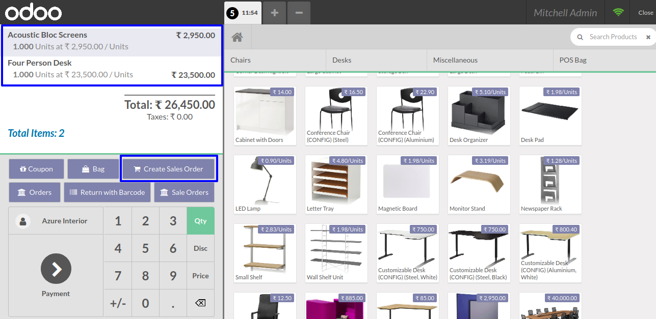 Create sale order