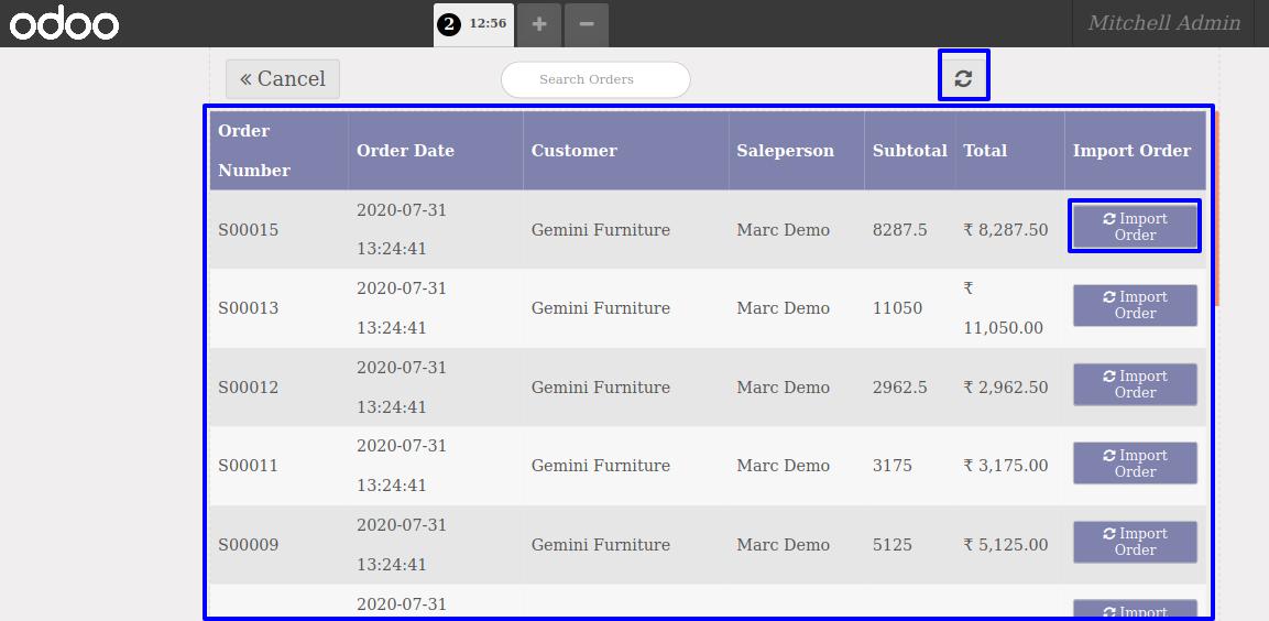 Customer order list
