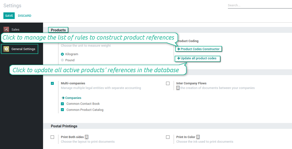 Product coding rules and settings