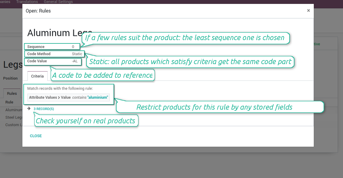 Static rules in product coding
