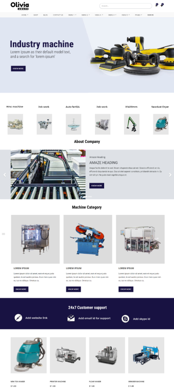 Industry website theme in odoo, odoo theme for Machinaries