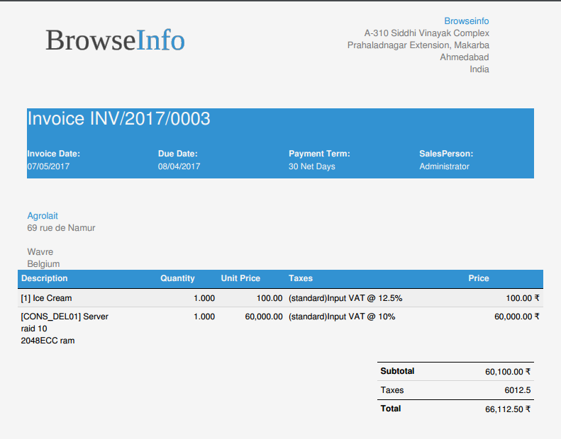 Browseinfo Invoice