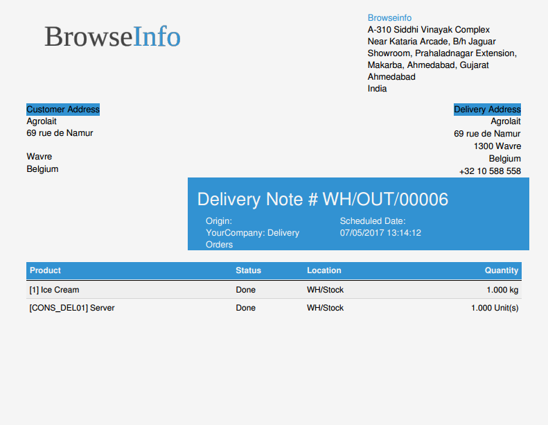 Browseinfo delivery note