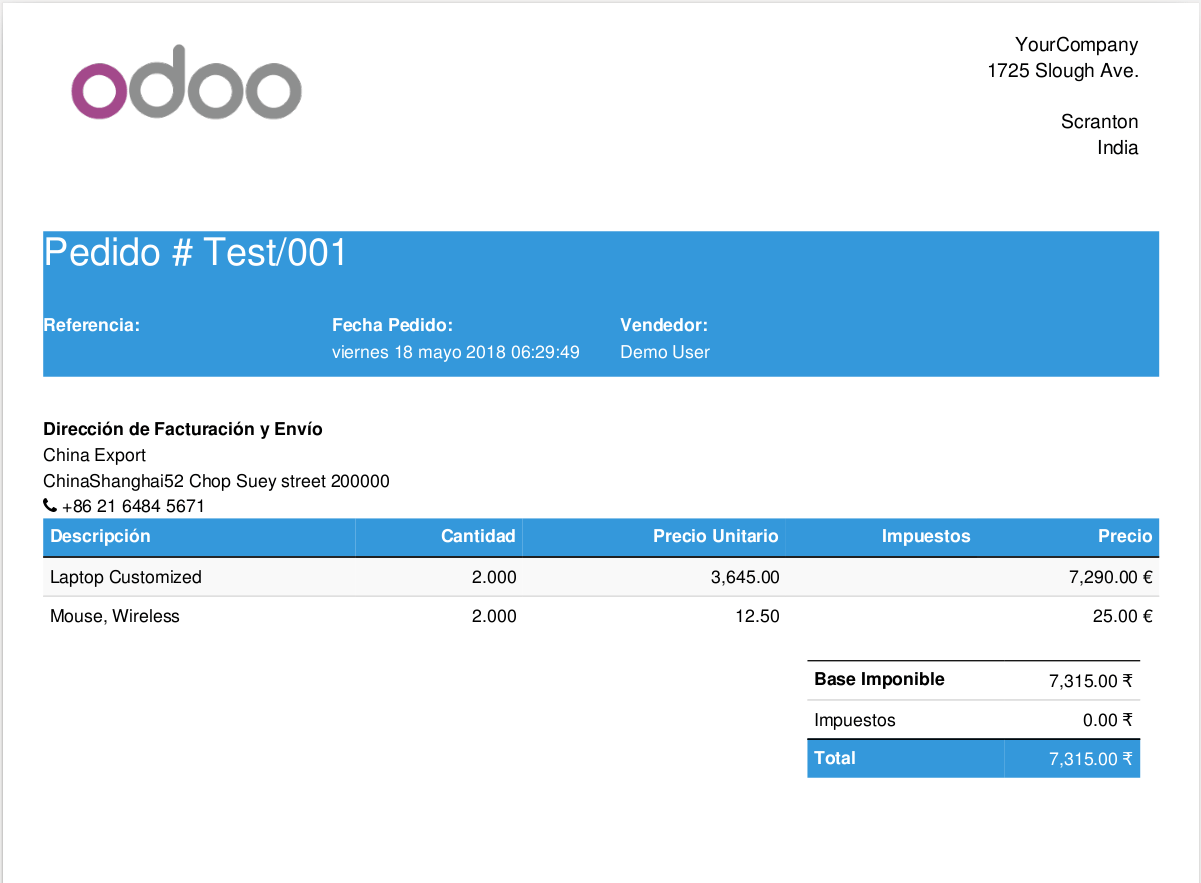 Odoo report template