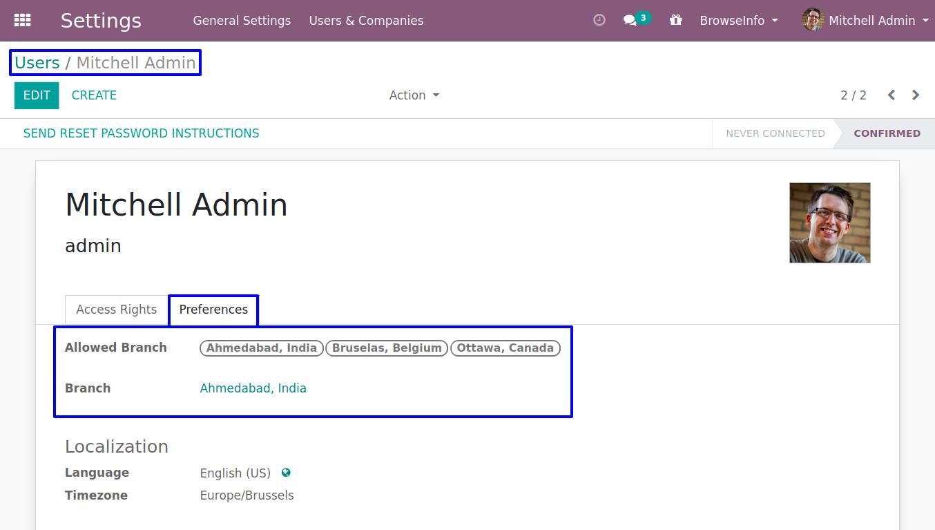 User assign branch