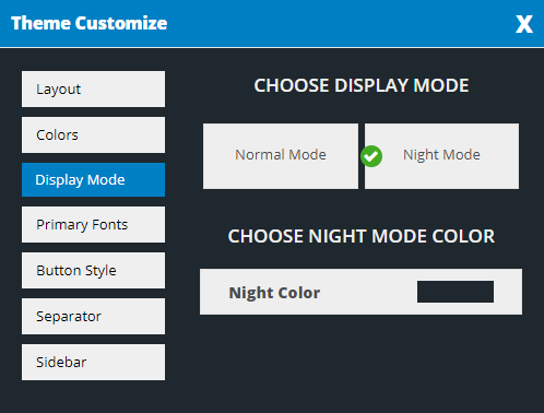 Night Layout Mode
