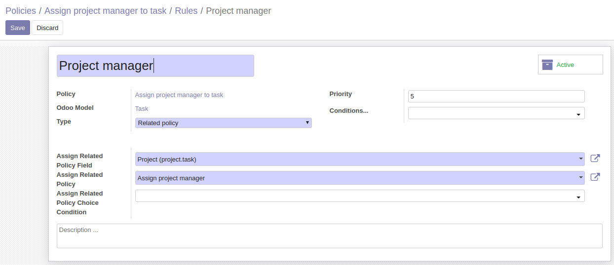 Assign project manager to task
