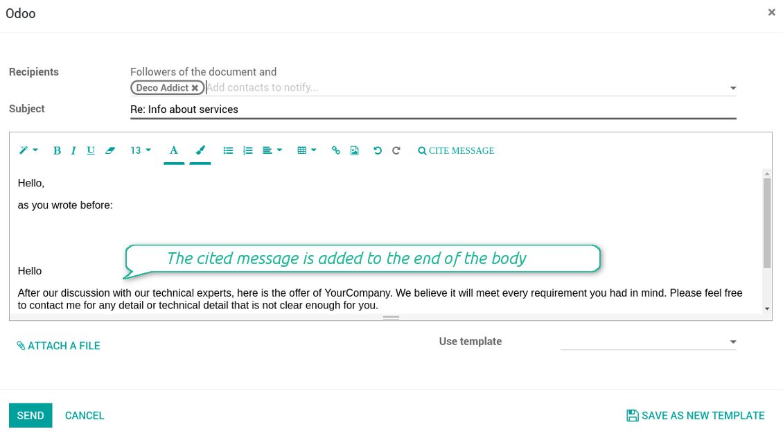 Cited messages in email composer