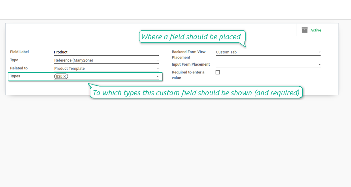 Custom fields depend on CRM lead types