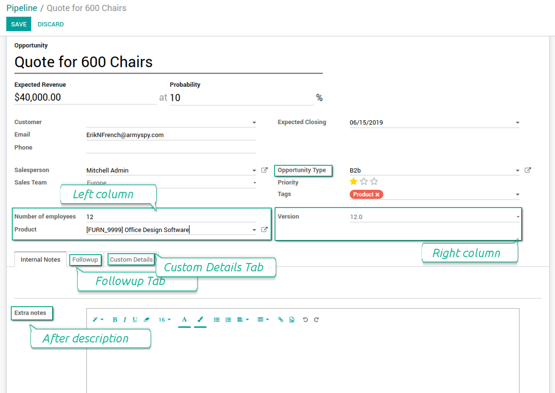 Customized form view of CRM opportunities