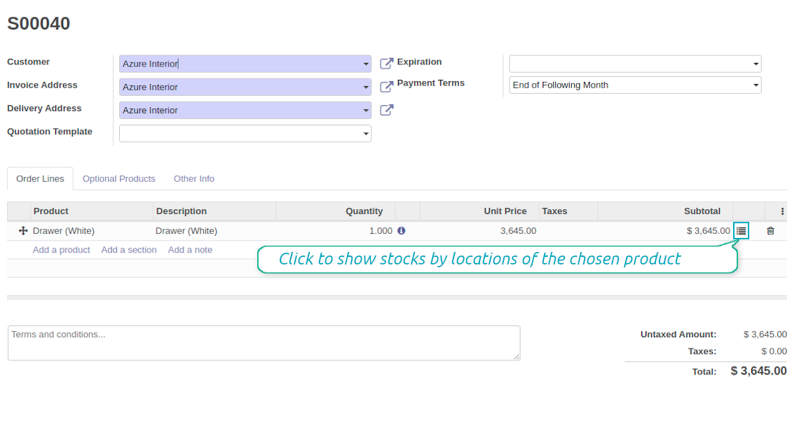 The sales button to show inventories by locations