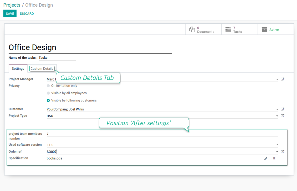 Customized form view of projects
