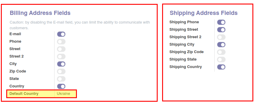 Define billing and shipping address fields, change shop grid. Odoo 13.0