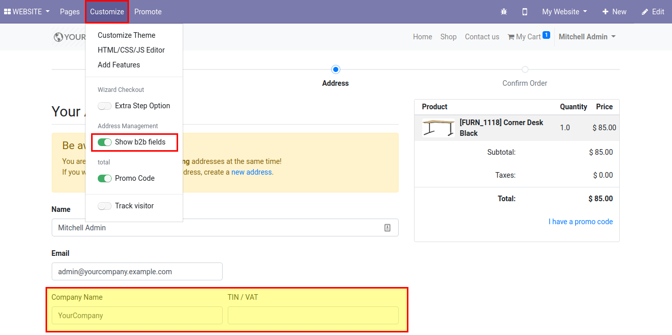 Define billing and shipping address fields, change shop grid. hide b2b address fields in Odoo 13.0