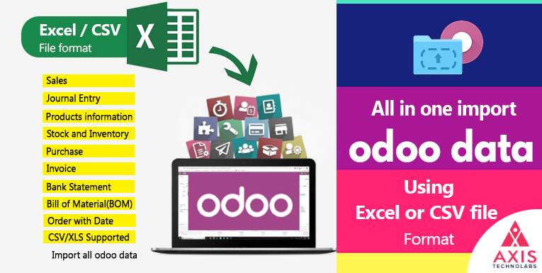 Import data in odoo for Sales, Purchase, Invoice, Import Stock Inventory, Import Product, Bill of material(BOM), Payment, Bank Statement, All Entry, Order Picking, Product, Customer, Stock, Account charts, Sales Pricelist, Supplier all data import in odoo using EXCEL or CSV