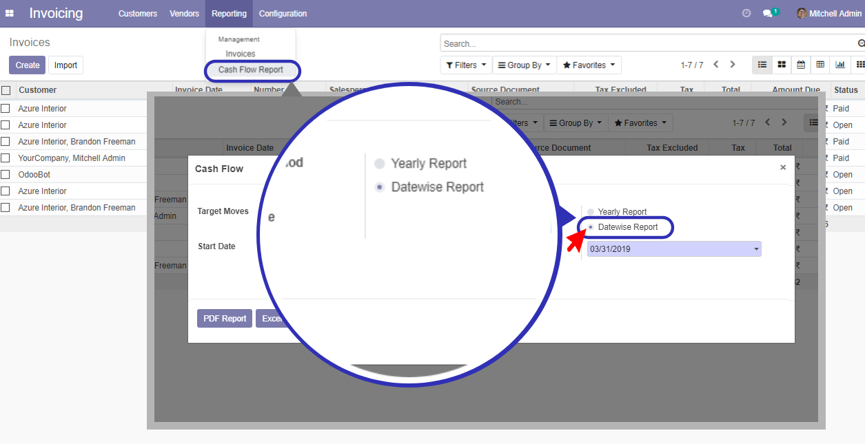 pdf, excel in odoo for account cash flow report