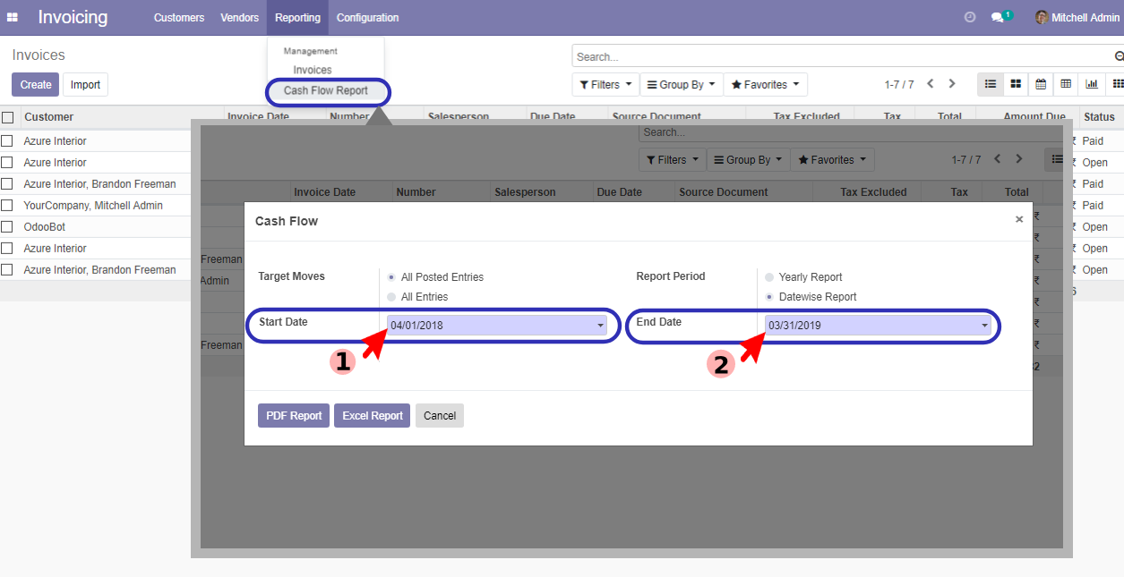 account Datewise PDF report in odoo v14