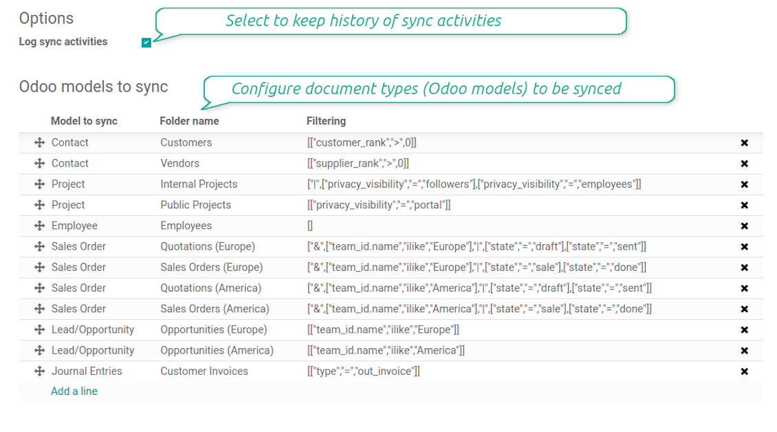 Odoo to-sync-models configuration