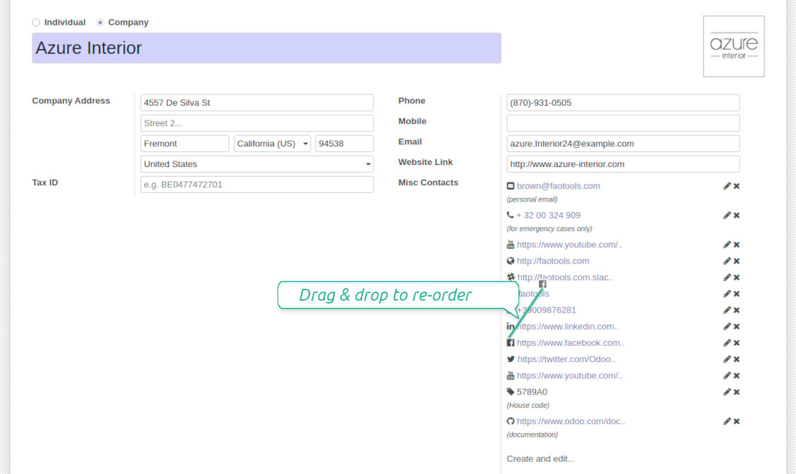 Drag and drop of Odoo contact details
