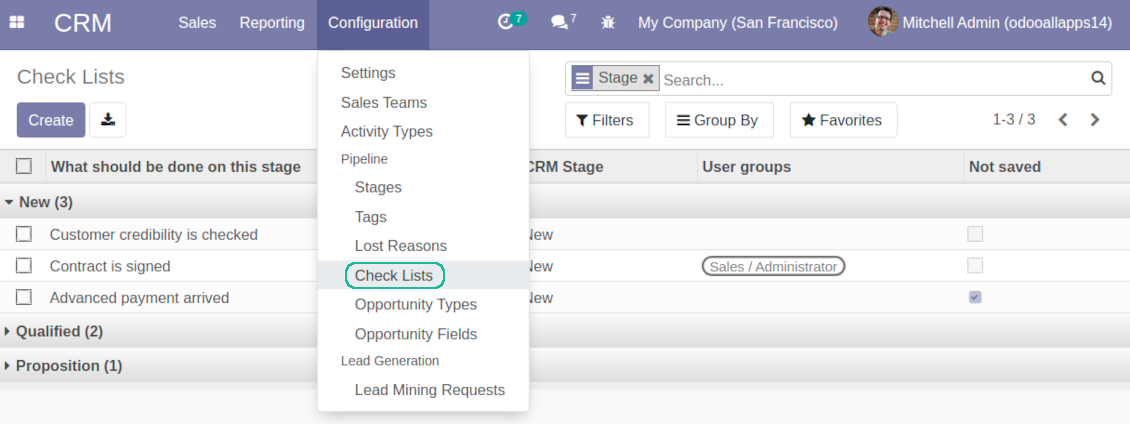 CRM Check list own view