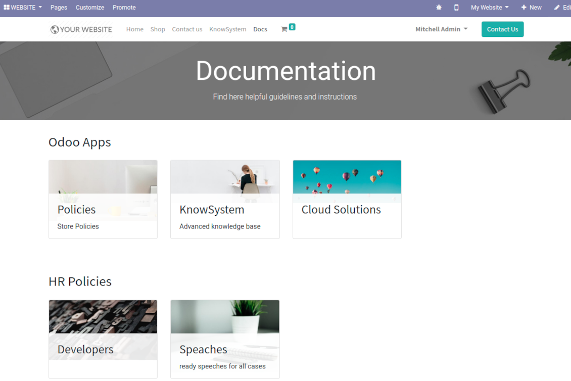 Documentation sections overview